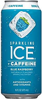 Sparkling Ice +Caffeine Blue Raspberry, Naturally Flavored Sparkling Water with Antioxidants & Vitamins, Zero Sugar, 16oz Cans (Pack Of 12)