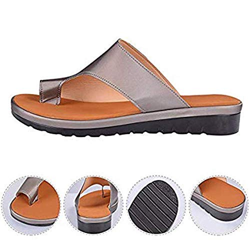 AXHSYZM Women Orthotic Sandals with Arch Support PU Leather Soft Orthotic Sandals for Plantar Fasciitis Stylish Beach Flip Flops Outdoor Toe Post Sandal,N2,41
