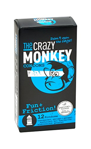 The Crazy Monkey Condoms - Fun+Fricition - con granos y acanalado para la máxima intensidad emocional - fabricado en látex de caucho natural - 12 condones - Made in Germany