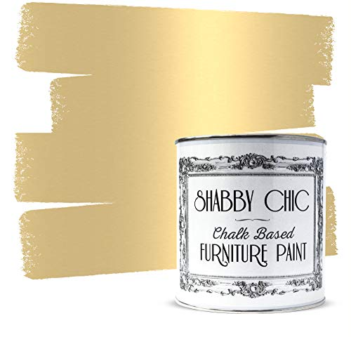 Shabby Chic Furniture Chalk Paint: Chalk Based Furniture and Craft Paint for Home Decor, DIY Projects, Wood Furniture - Chalked Interior Paints with Metallic Finish - 250ml - Antique Gold