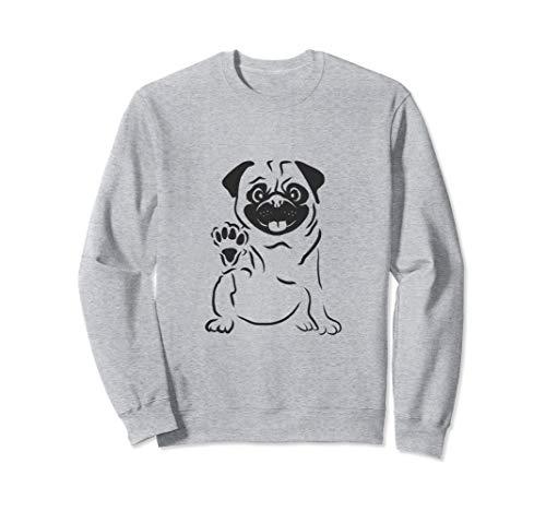 Süßer Mops der Pfötchen hebt und winkt Mops,Hund,Pug-Liebe Sweatshirt