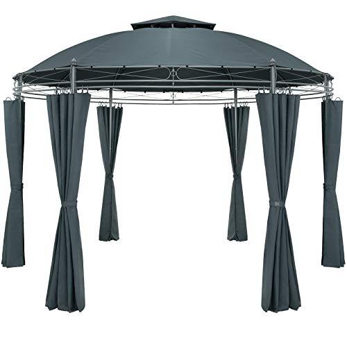 Casaria Pavillon Toscana Ø350cm Wasserabweisend Metall Garten Stabil Robust Seitenwände Gartenpavillon Luxus Anthrazit