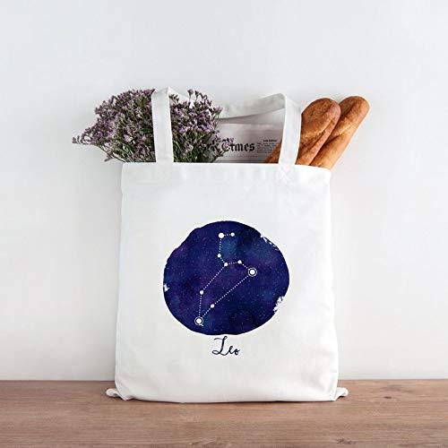 Astrologie-Tragetasche, Sternbild Löwe, Sternzeichen-Design, wiederverwendbare Einkaufstasche