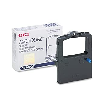 Oki Microline 100 Series/320/320T/321/321T Black Fabric Ribbon  3M Characters  Fabric Rbn 3M Yld Part Number 52102001 by Oki