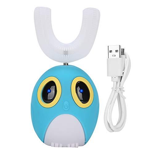 Cepillo de dientes eléctrico en forma de U para niños, Cepillo de dientes de masaje blanqueador automático ultrasónico, Cepillo de dientes de modelado de dibujos animados tipo U(Azul/7-12 años)