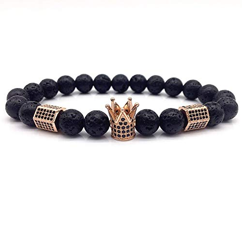 CHCO Pulsera de cuentas de corona de los hombres pulseras clásicas simples cuentas pulseras de abalorios para hombres joyería regalo 9