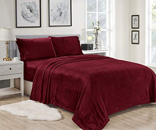 Plazatex Noble House Lavana Soft Brushed Microplush Bed Sheet Set Twin Size - Burgundy