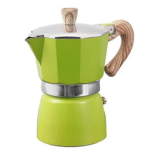 CHENSHJI Estufa de Olla Moka Mochila de Aluminio Mocha Espresso máquina de Horno de Horno (Color : Verde, Size : 150ml)