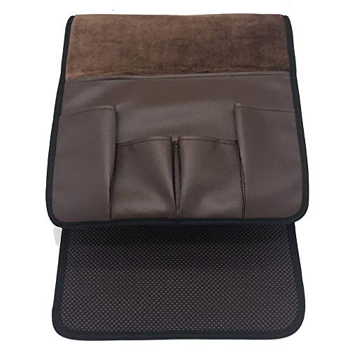 Amusingtao - Borsa portaoggetti con 5 tasche per riporre oggetti, con telecomando, antiscivolo, per casa, in pelle PU, da appendere sul divano, sul lato del divano e sulla sedia (marrone scuro)