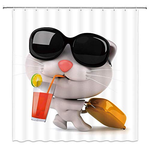 NJMRZX Cartoon Cat Decor Fabric Shower Curtain Cute Kitten Drinking Lemon Juice with Eyeglasses and Suitcase Bathroom Curtains Waterproof Polyester with Hooks 72x72 Inches