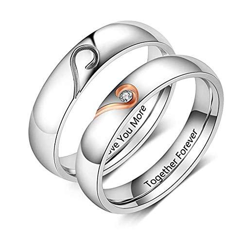 XiXi Partnerringe mit Gravur Personalisierte Eheringe Edelstahl Paar Ringe für Sie und Ihn Herz Verlobungsringe Ehepaar Ringe Set Schmuck Geschenke für Valentinstag Hochzeit Verlobung