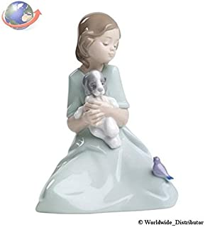 Nao Porcelain by Lladro MY LITTLE COMPANIONS ( GIRL WITH PUPPY DOG & BIRD ) 2001575