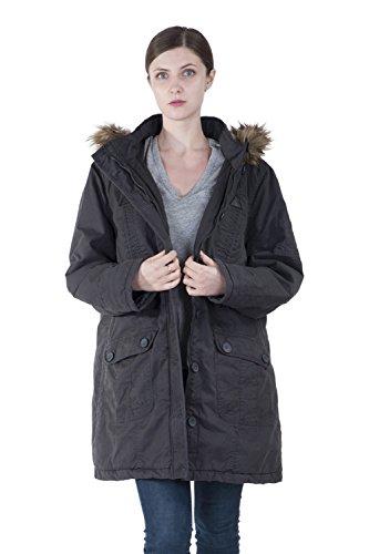 Infron IN FRONT Women Winter Long Outerwear Plus Size Cotton Hooded Parka Coat With Detachable faux fur