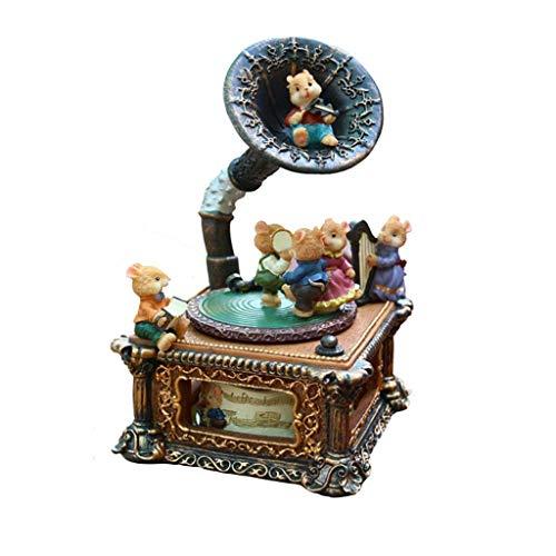 ZHBH Caja de música de baratija, Adornos de fonógrafo, Elegante Pieza Central de Adorno de Mesa