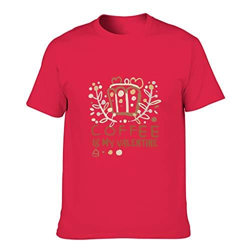 Ballbollbll Coffee is My Valentine - Camiseta para hombre, cuello redondo, 100% algodón, para acampar
