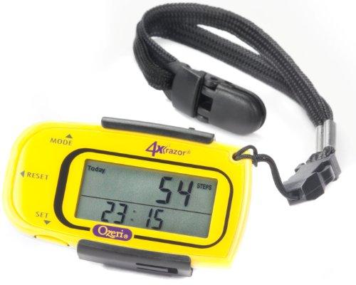 Ozeri 4x 3razor Pocket 3D Schrittzähler und Activity Tracker mit Bosch Tri-Axis-Technologie aus Deutschland, PD4X3Y-2, gelb, 1