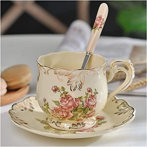 Taza y platillo conjunto creativo cerámica taza de café y platillo pintado a mano rosa taza de té de taza de té y cuchara, regalo clásico de bebidas 49 (Color : 250ml Rose)