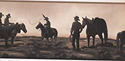 Horses and cowboys on a wallpaper border