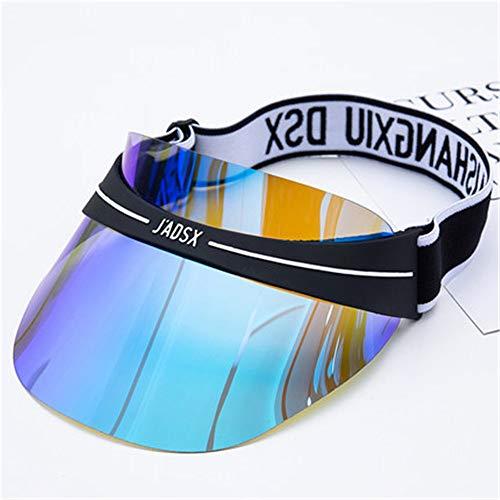 Visière Solaire néon Pare-Soleil Poker Hat Casquette de Golf,Chapeau Haut Transparent, modèle Parent-Enfant, Chapeau en PVC, Chapeau de Protection Contre Les Rayons UV extérieur, coloré en Bleu