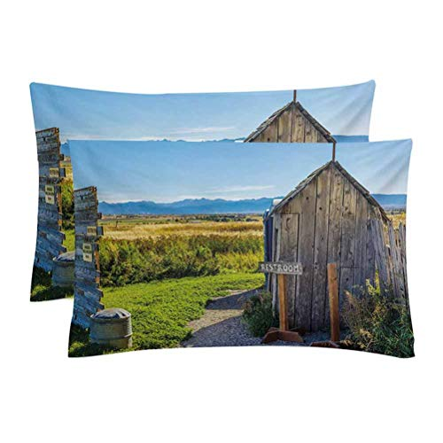 Outhouse King Size Pillow Case Set,Old Rustic Wooden Cottage Barn Shed in a Farm Village Image Decoration Pillow Covers Set Cushion Cases,for Bedroom Couch Car,Set of 2,Dark Grey Green and Sky Blue