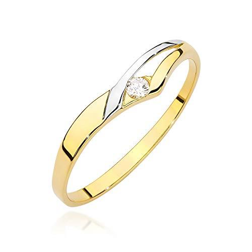 Anello da donna in oro giallo 585 14 carati, con diamanti naturali
