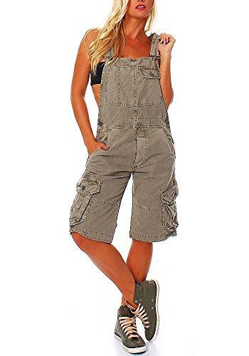 Jet Lag Damen Overall Shorts mit Brusttasche Cement L