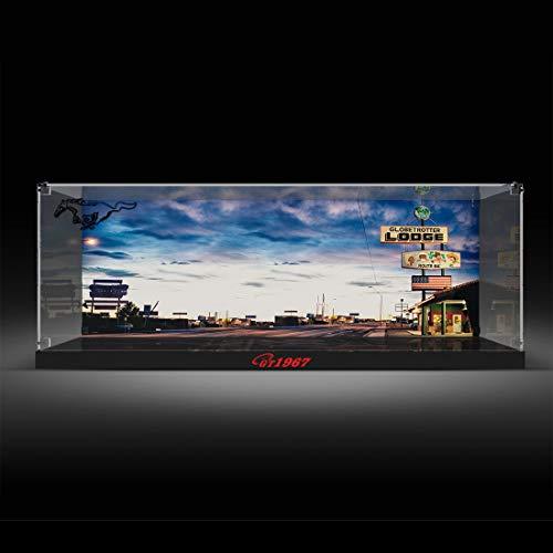 MAJOZ Caja de presentación acrílica para modelos, compatible con Lego, Ford Mustang 10265 (no incluye el modelo Lego), inyección de tinta con hebilla de cristal.