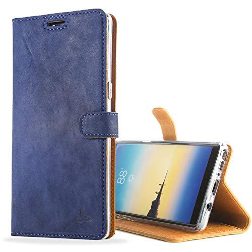Snakehive Note 8 Schutzhülle/Klapphülle echt Leder Kartenfach mit Standfunktion, Handmade in Europa für Note 8 - Marine Blau