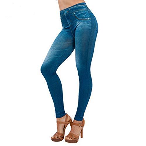 Sayla Vaqueros Mujer Push Up Tejanos Sexy Moda Casual EláStico Cintura Denim Pantalones Bolsillo Delgado Leggings Fitness MáS TamañO Leggins Longitud Jeans (S, Azul)