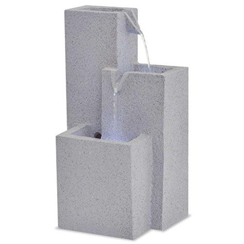 Zora Walter Fontaine d'intérieur en polyrésine avec lumière LED Gris 22,5 x 18 x 40,6 cm