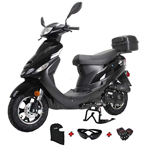 X-PRO Maui 50cc Moped Scooter Gas Moped Scooter Motorcycle 50cc Adult Scooter Aluminum Wheels with USB Charger Assembled in Crate (Matte Black)