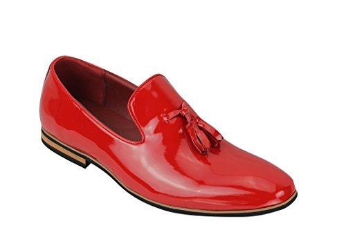 Mocassini da uomo in finta pelle scamosciata, con nappe, taglia 38,5-46,5, Rosso (Red Patent), 44 EU