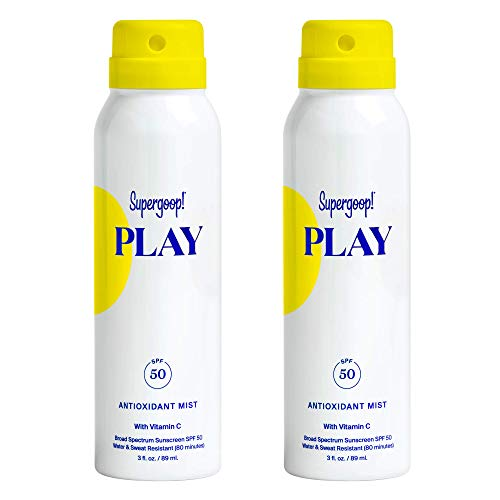 Supergoop! PLAY SPF 50 Antioxidant-Infused Body Mist w/Vitamin C, 3 fl oz - 2 Pack - Reef-Safe, Broad Spectrum Sunscreen Spray - Body Sunscreen for Sensitive Skin - Great for Active Days