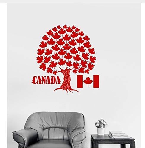 Kanada Ahorn Baum Symbol Wandaufkleber Vinyl Wandtattoo Kanadische Flagge Wandaufkleber Wanddekoration Wohnzimmer Schlafzimmer 57X61Cm
