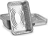 zyh Paquete de 10 contenedores de bandejas de Papel de Aluminio Desechables con Tapas de Papel de Aluminio. Ideal para Hornear Alimentos para Llevar Lata y más 1000ml