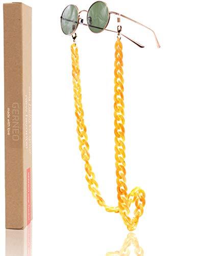 GERNEO® - Havanna – Maskenhalter & Brillenkette Gold Whisky - korrosionsbeständig – einzigartig hochwertige Brillen Kette & Brillenband für Sonnenbrille & Lesebrille - Brillenkette mit Karabiner