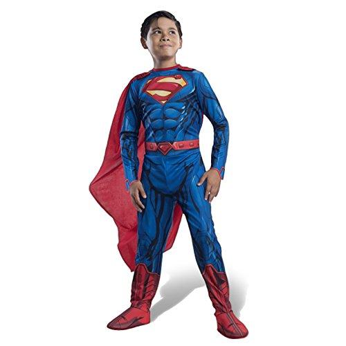 Superman Overall Kinder Kostüm mit Galoschen Gürtel Cape für kleine Helden - L