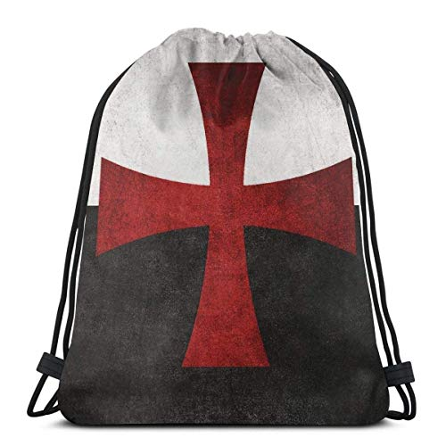 Kordelzug Rucksack Taschen Schwarz-Weiß-Flagge mit rotem Eisernen Kreuz Adult Lightweight Sport Gym String Storage Sackpack