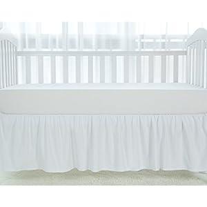 TILLYOU White Crib Skirt Dust Ruffle, 100% Natural Cotton, Nursery Crib Toddler Bedding Skirt for Baby Boys or Girls, 14″ Drop