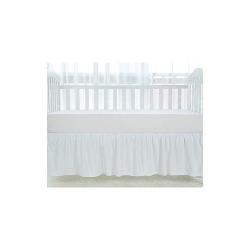 "crib bedding and baby bedding tillyou white crib skirt dust ruffle, 100% natural cotton, nursery crib toddler bedding skirt for baby boys or girls, 14"" drop"