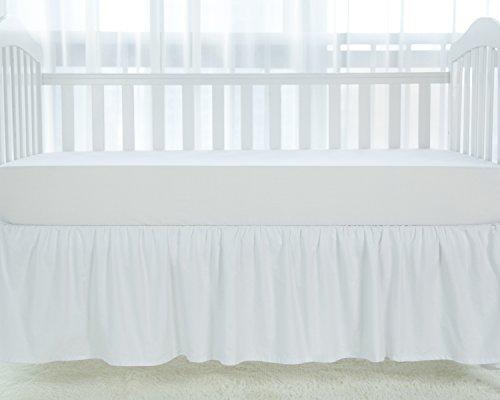 "TILLYOU White Crib Skirt Dust Ruffle, 100% Natural Cotton, Nursery Crib Toddler Bedding Skirt for Baby Boys or Girls, 14"" Drop"