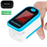 Tomorotec Fingertip Pulse Oximeter Blood Oxygen Saturation Monitor with Carrying Case, Batteries and Lanyard (Blue)