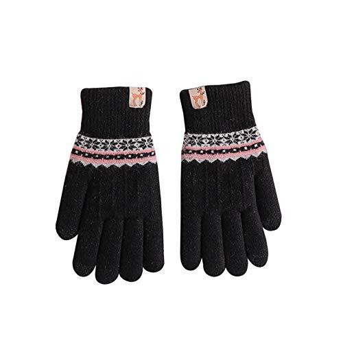 Handschuhe & Fäustlinge Winterschulgirlhandschuhe, Touchscreen-Handschuhe, Gewindemanschetten, doppelt verdicktes Futter (Color : Black)