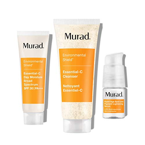 Murad Vitamin C Skin Brightening Kit (Rapid Lightening 30 Day Kit - Skin Care Kit with Essential-C Cleanser, Essential-C Day Moisture, Rapid Age Spot and Pigment Lightening Serum2% Hydroquinone + 3 Bonus Items) Lightening Beauty Products Kit
