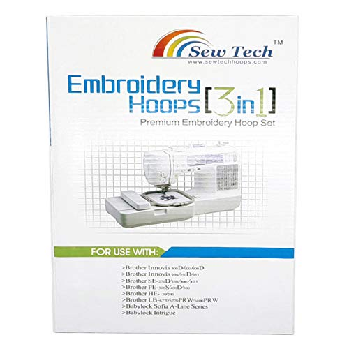 Sew Tech Embroidery Hoops for Brother SE600 PE550D PE535 SE400 PE525 PE540D PE500 SE625 SE425 Innovis Babylock Brother Embroidery Machine Hoop (3in1 Set)