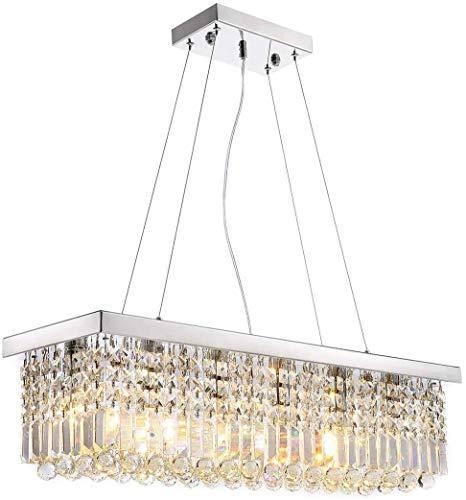 PXY Lámparas de Techo de Araña de Cristal Rectangular Luz Colgante Moderna L100 X W25Cm, 220-240V