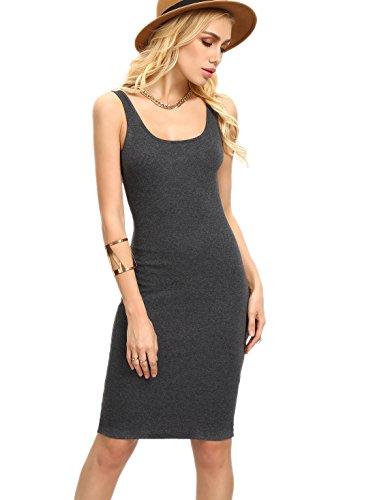 MakeMeChic Women's Basic Scoop Neck Bodycon Sleeveless Mini Tank Dress Grey L