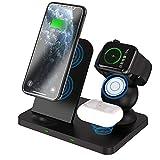 COSCANA Cargador Inalámbrico, Estación De Carga Inalámbrica 3 En 1 para iPhone 12/11 / SE/X/XS/XR / 8 Apple Watch Airpods, Cojín De Carga Inalámbrica para Samsung S20 / S10