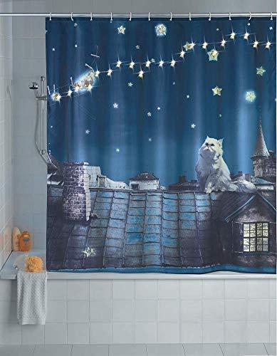 Wenko 22497100 LED Duschvorhang Moon Cat - waschbar, mit 12 Duschvorhangringen, Polyester, Mehrfarbig, 180x200 cm
