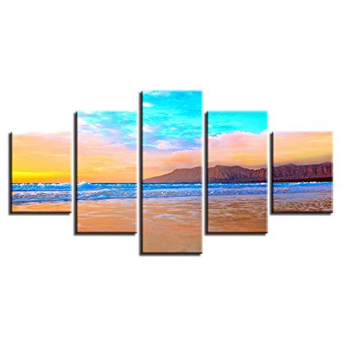 WLHAL HD Afbeeldingen druk decoratie Moderne 5 stuks Strand Berg Mooie Seascape Schilderij Ingelijst Modulaire Poster Canvas Wandkunst / 40X60cmX2 40X80cmX2 40X100cm